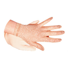 1121 Glitter Mesh Gloves - Beige Or Black