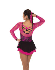 225 Port of Lace Dress - Black/Fuchsia