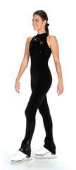 High Neck Velour One Piece Unitard|Unitard Velour Noir