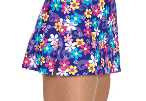 524 Printed Short Skirt - Purple Daisy|524 Jupe courte imprimée - marguerite mauve