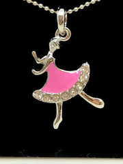 Pink Ballet Dancer Necklace Pendant| Rose Ballet Dancer Collier