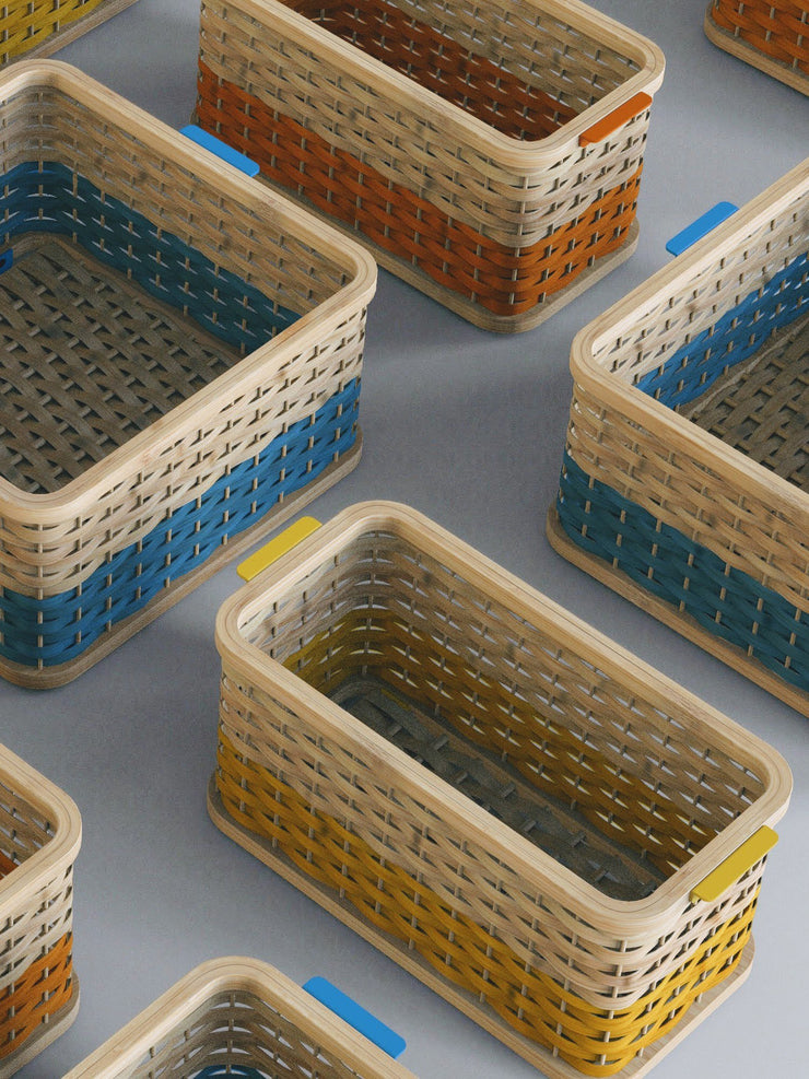 Rounded Stackable Basket in Orange
