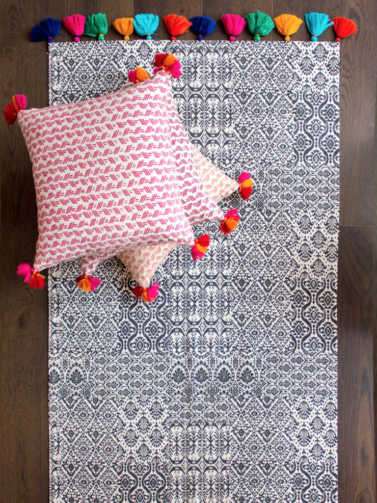 Charcoal Ikat Dhurrie