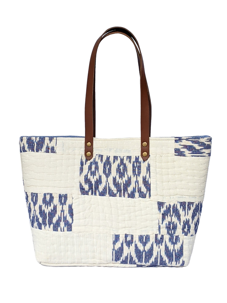 Off-White and Blue Large Tote Bag
