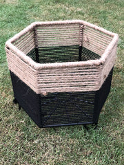 Black & Jute Planter Medium
