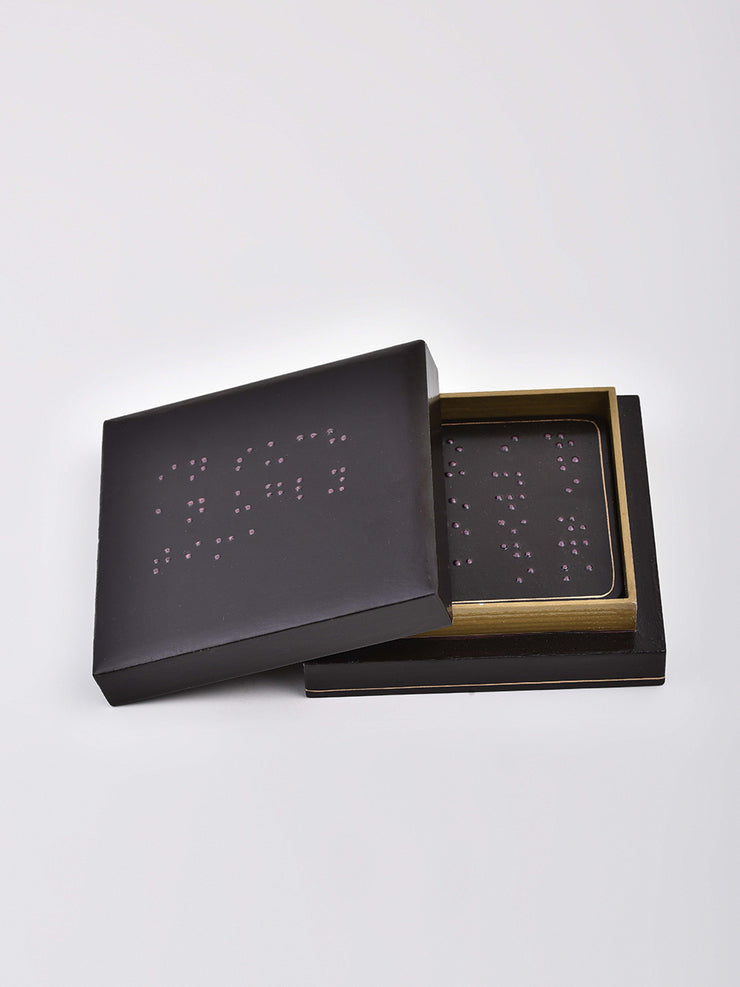 Braille Coaster Set in Dark Brown