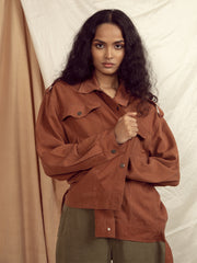 Collingwood Oversized Jacket in Copper Brown
