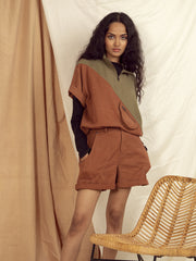 Hamilton Mid rise Shorts in Copper Brown