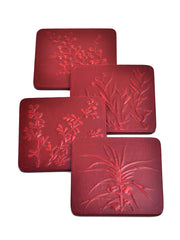 Rajbagh Coaster Set in Red