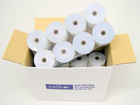 Calibor Single Ply Bond Receipt Paper Rolls 76x76 24 Rolls per box for Kitchen Printer - FREE FREIGHT