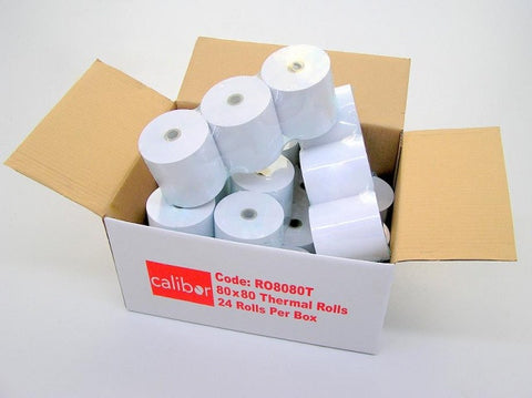 Calibor Thermal Single Ply Receipt Printer Paper Rolls 80x80 24 Rolls per box for Cashier Printer - FREE FREIGHT