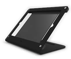 iPad 9.7 / iPad Pro 12.9 STAND Black powdercoated steel with rotating self adhesive base and other mounting feet included  - FREE FREIGHT