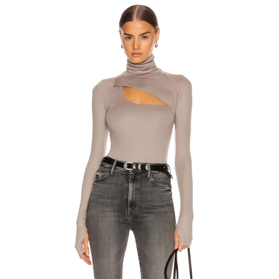 Ladies Polo High Turtle Neck Ribbed Cold Cut Out Shoulder Womens Tee T Shirt Top
