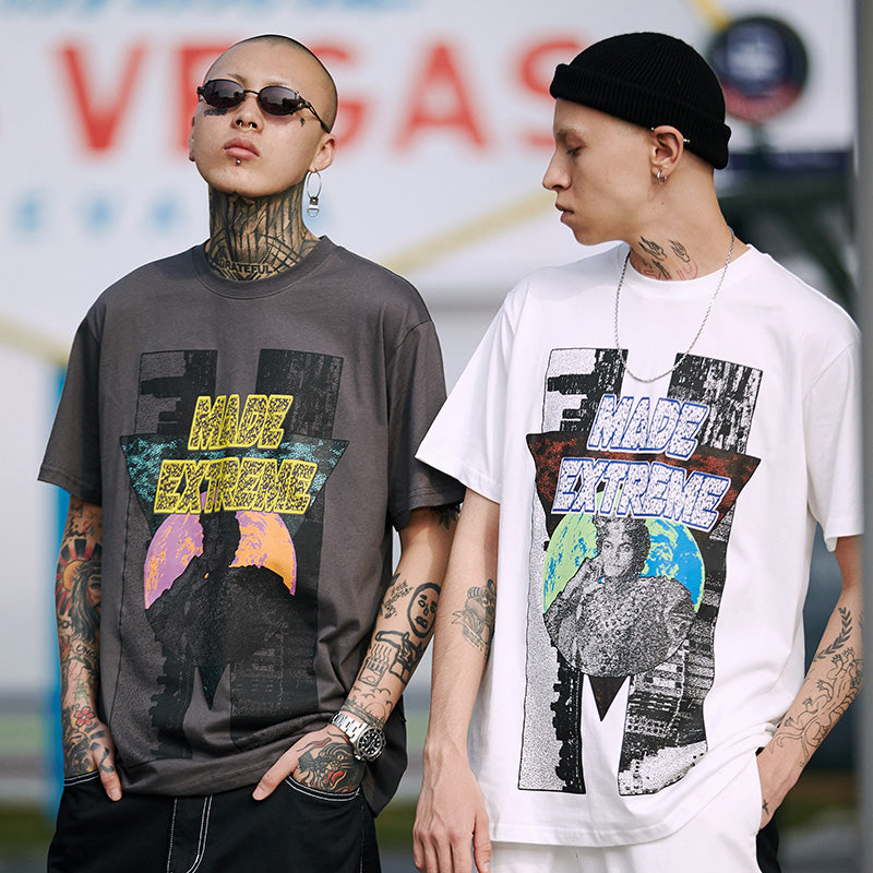 Mens T-Shirts Streetwear Tshirt Cotton Short Sleeve Print Tops Tees