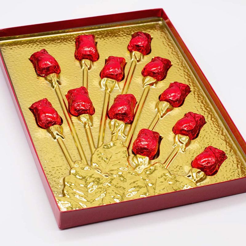 One Dozen Milk Chocolate Roses in Box - Wilson Candy