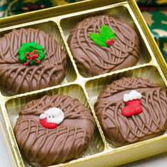 4 Piece Milk Chocolate Covered Oreos with Holiday Sugar Decal