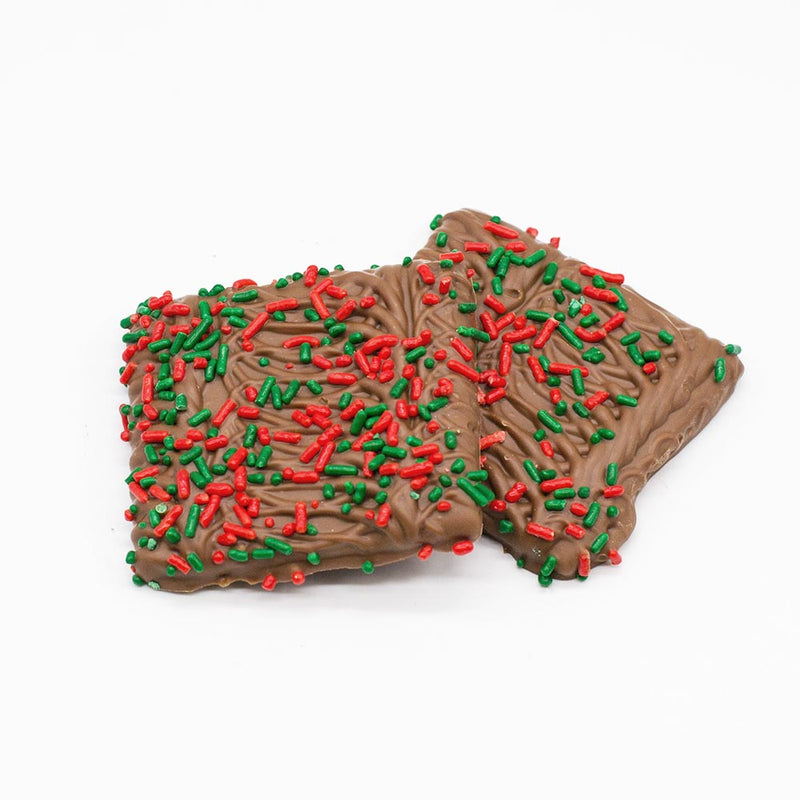 Individually Wrapped Milk Chocolate Covered Graham Crackers with Holiday Sprinkles