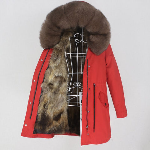 Carmen Charlott Fox Fur Parka Red AW20