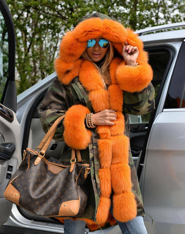 Carmen Charlott Fox Fur Parka Camouflage - Orange Fur