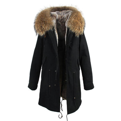 Carmen Charlott Parka Black - Natural Fur