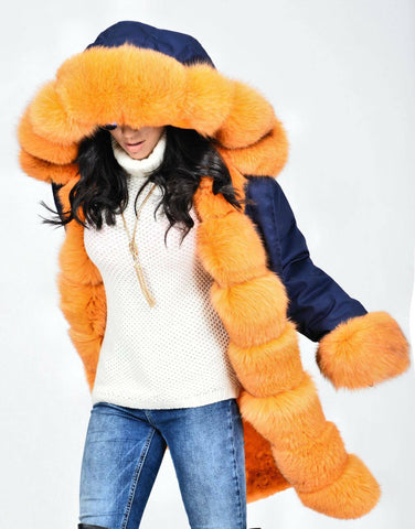 Carmen Charlott Fox Fur Parka Blue - Orange Fur