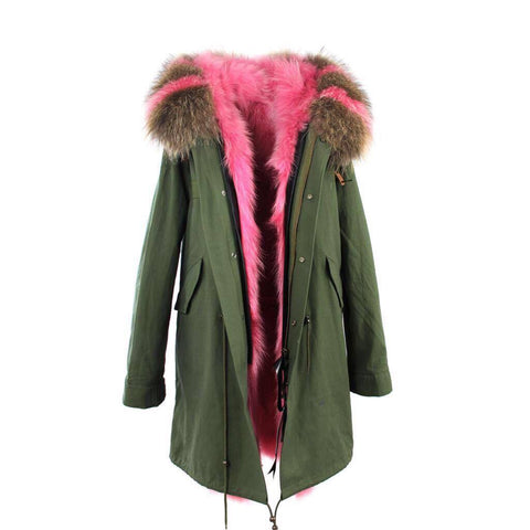 Carmen Charlott Fox Fur Parka Green - Natural and Pink Fur