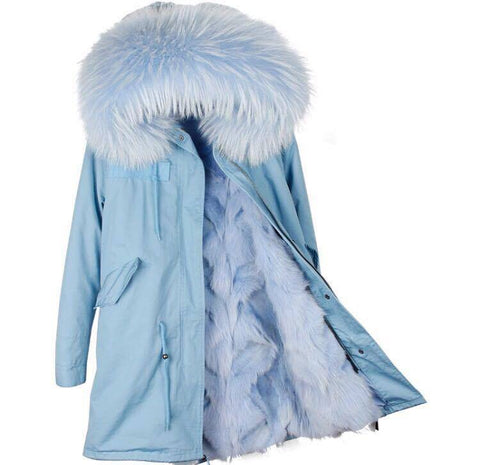 Carmen Charlott Fox Fur Parka Light Blue - Light Blue Fur