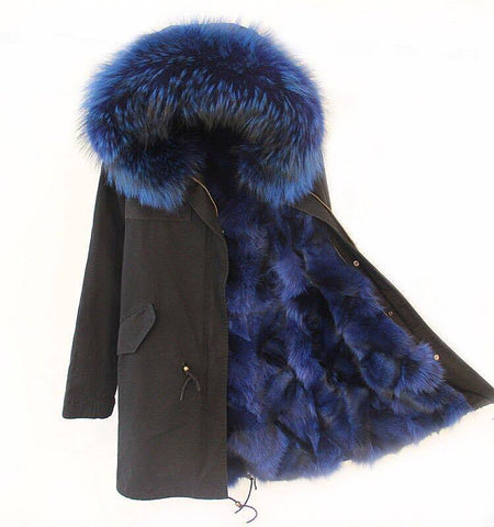 Carmen Charlott Fox Fur Parka Black - Blue Fur