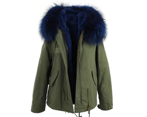 Carmen Charlott Jacket Green - Blue Fur