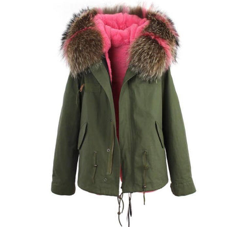 Carmen Charlott Jacket Green - Pink and Natural Fur