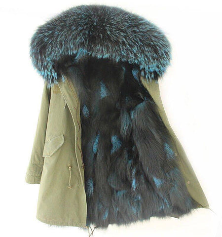 Carmen Charlott Fox Fur Parka Green - Türkis and Black Fur