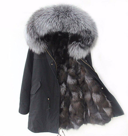 Carmen Charlott Fox Fur Parka Black - Silver Fox Fur