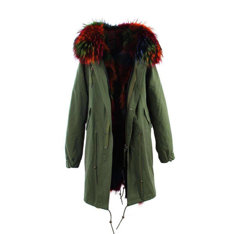 Carmen Charlott Fox Fur Parka Green - Multicolor Fur