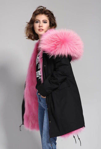 Carmen Charlott Parka Black - Light Pink Fur