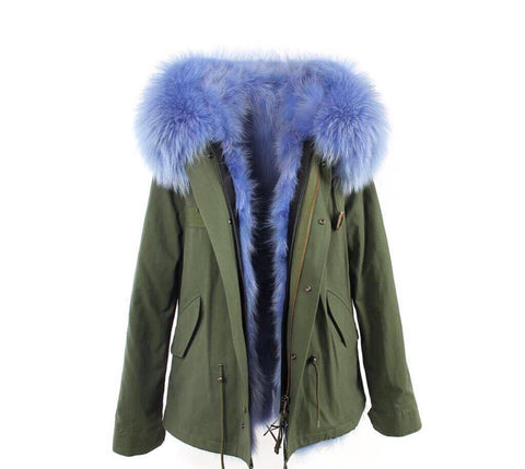 Carmen Charlott Fox Fur Jacket Green - Light Blue Fur
