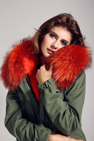 Carmen Charlott Jacket Green - Orange Fur