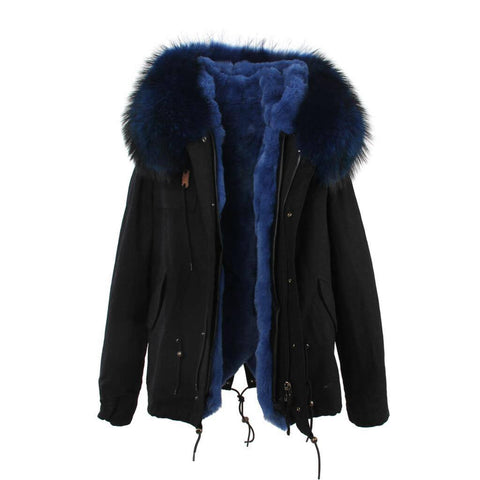 Carmen Charlott Jacket Black - Blue Fur