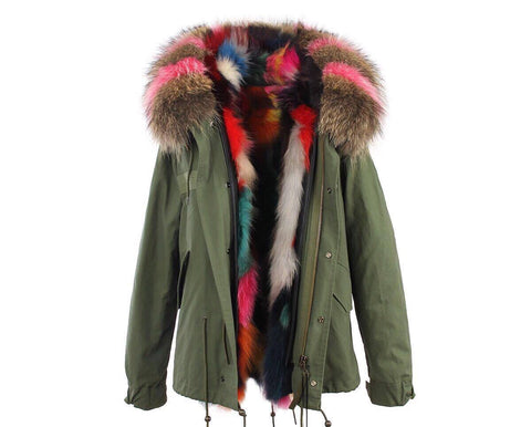 Carmen Charlott Fox Fur Jacket Green - Natural and Pink Fur