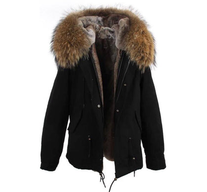 Carmen Charlott Jacket Black - Natural Fur