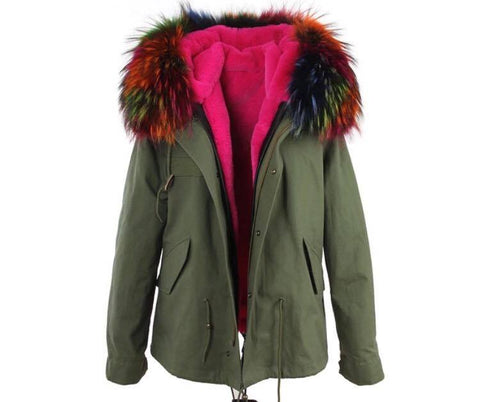 Carmen Charlott Jacket Green - Multicolor Fur
