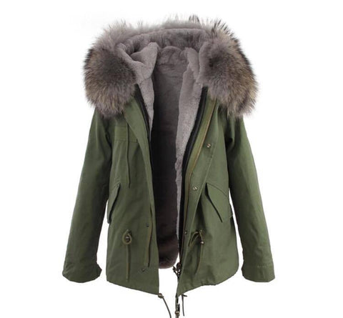 Carmen Charlott Jacket Green - Grey Fur