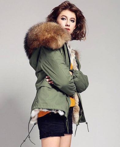 Carmen Charlott Jacket Green - Natural Fur