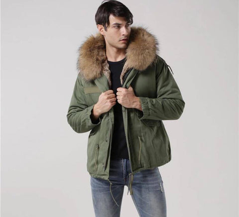 Carmen Charlott Men Jacket Green - Natural Fur