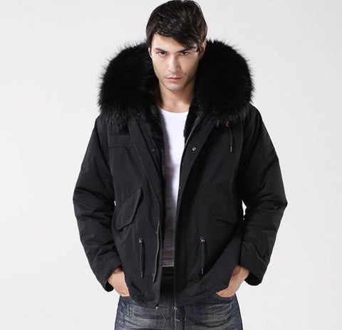 Carmen Charlott Men Jacket Black - Black Fur