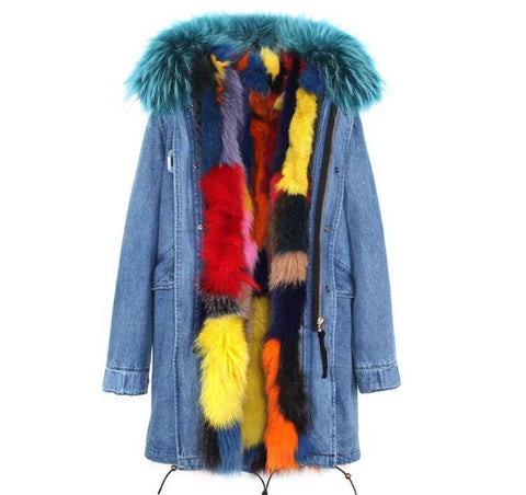 Carmen Charlott Fox Fur Parka Denim