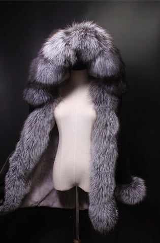 Carmen Charlott Black Collection - Silver Fox Fur Parka
