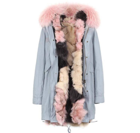 Carmen Charlott Fox Fur Parka Light Grey