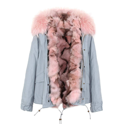 Carmen Charlott Fox Fur Jacket Light Grey