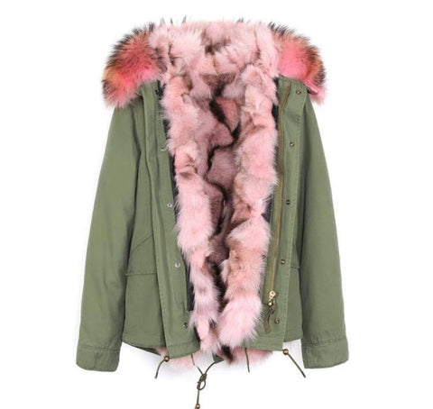 Carmen Charlott Fox Fur Jacket Green