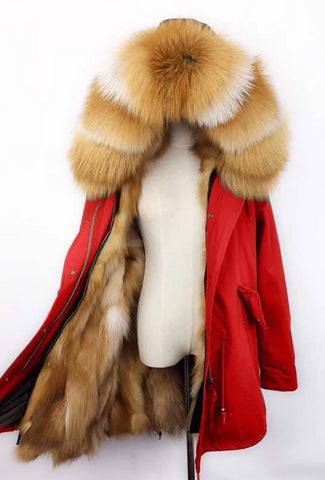Carmen Charlott Gold Fox Fur Parka - Red